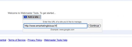 Google Webmaster Tools - Insérer Votre Url