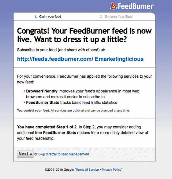 Congrats Your Feedburner Feed is now live!