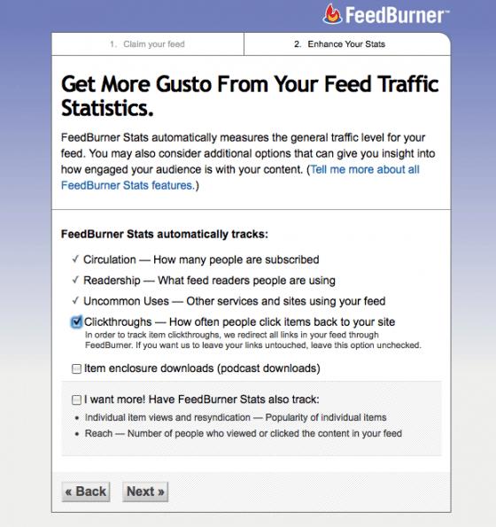 feedburner stats configuration