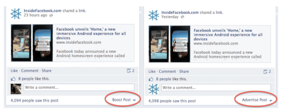 bouton promouvoir facebook