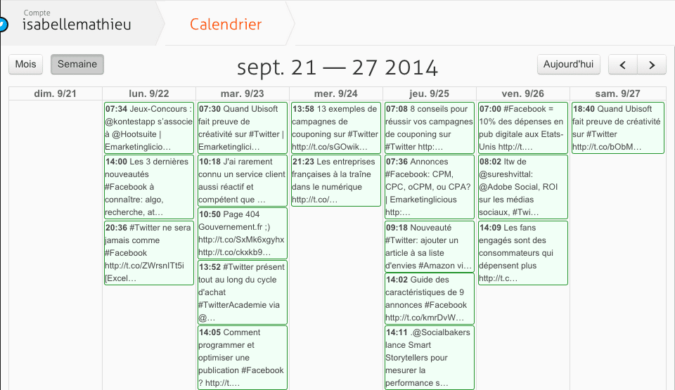 calendrier agorapulse
