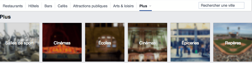 facebook places categories