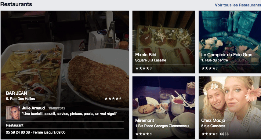 facebook places restaurants
