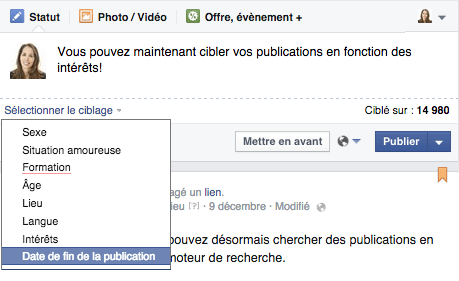 ciblage fin distribution facebook-publication-organique