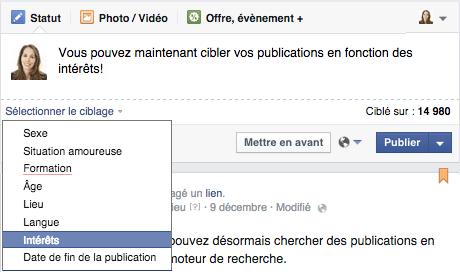 ciblage interet facebook publication-organique