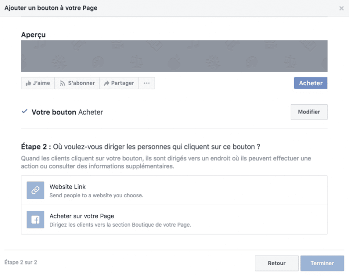boutique facebook bouton appel action achats