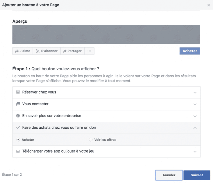 boutique facebook bouton appel action