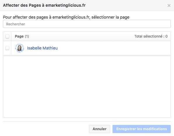 associer page facebook domaine verifie
