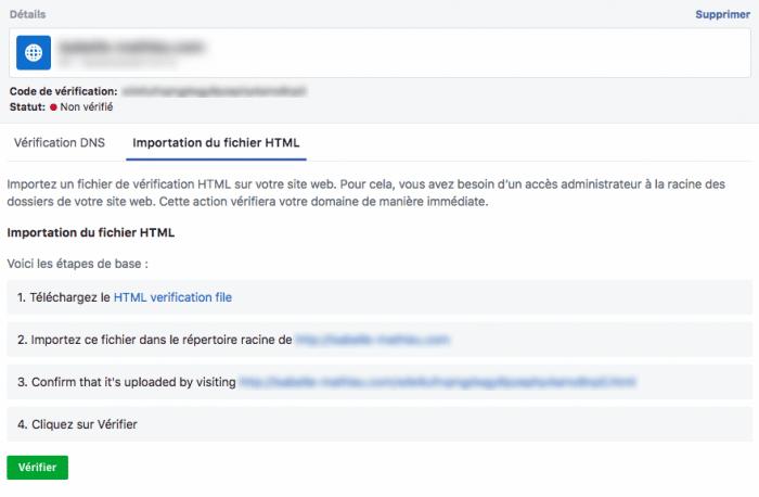 importation fichier html domaine verifie facebook