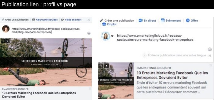 publication lien facebook profil page