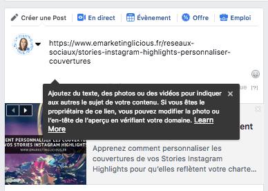 verifier domaine lien facebook