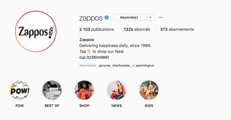 zappos Instagram Stories Highlights a la une