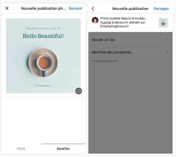 comment publier instagram pc legende