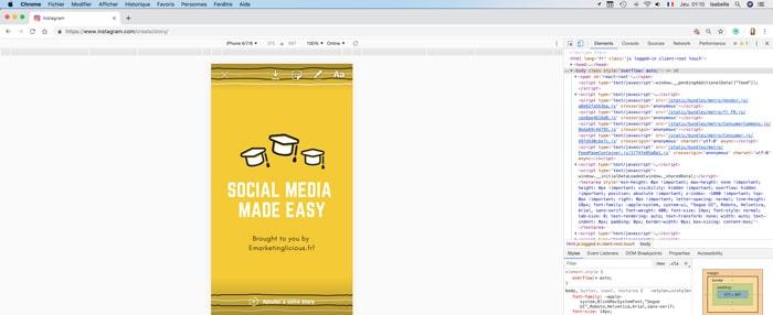 publier story instagram ordinateur bureau ajouter