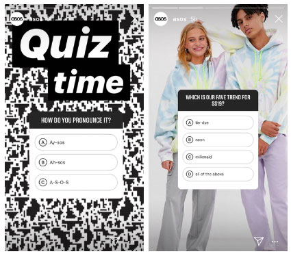 sticker quiz instagram story