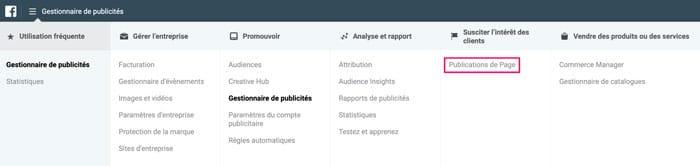 gestionnaire publicite facebook publications page