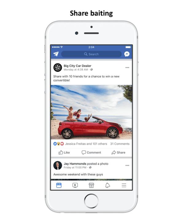 Facebook engagement bait partager