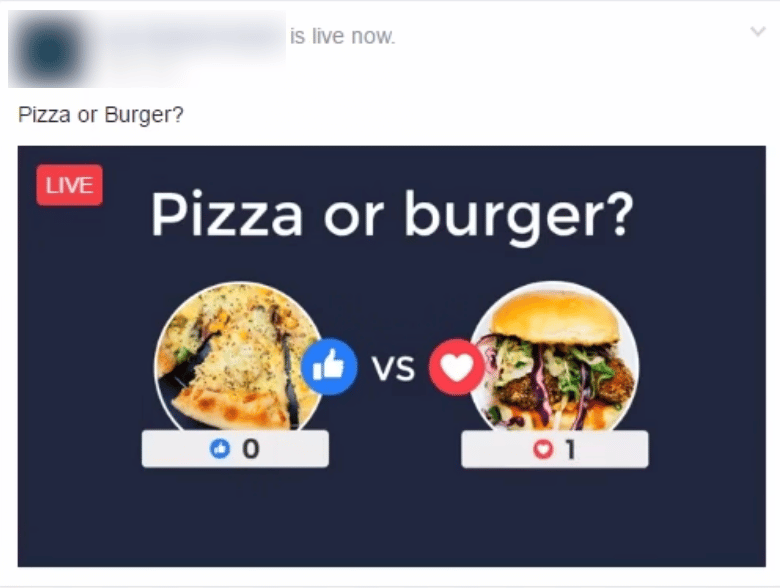 Facebook engagement live video bait vote baiting