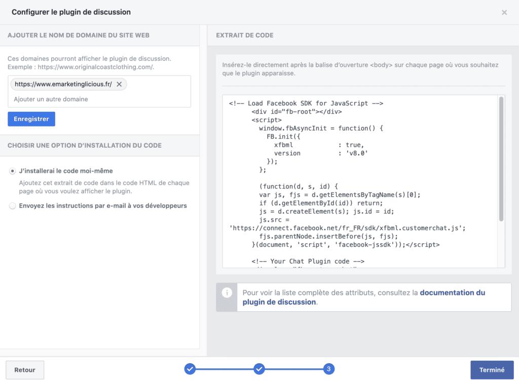 code pour le live chat Facebook Messenger à ajouter sur votre site web WordPress