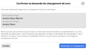comment modifier le nom d'une page facebook