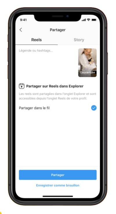 partager instagram reels explorer stories