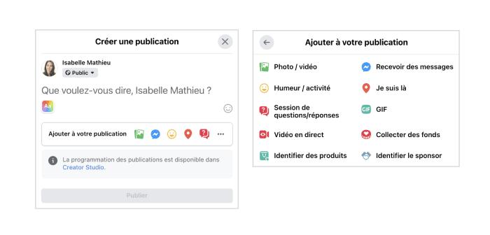 outil publication facebook options
