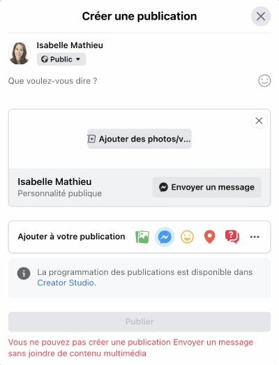 publication facebook message messenger