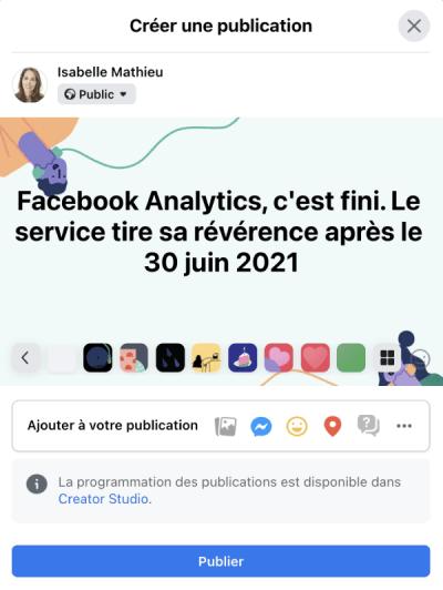 publication facebook texte